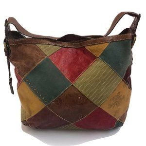 Fossil Handbag Leather Patched Work Satchel Purse